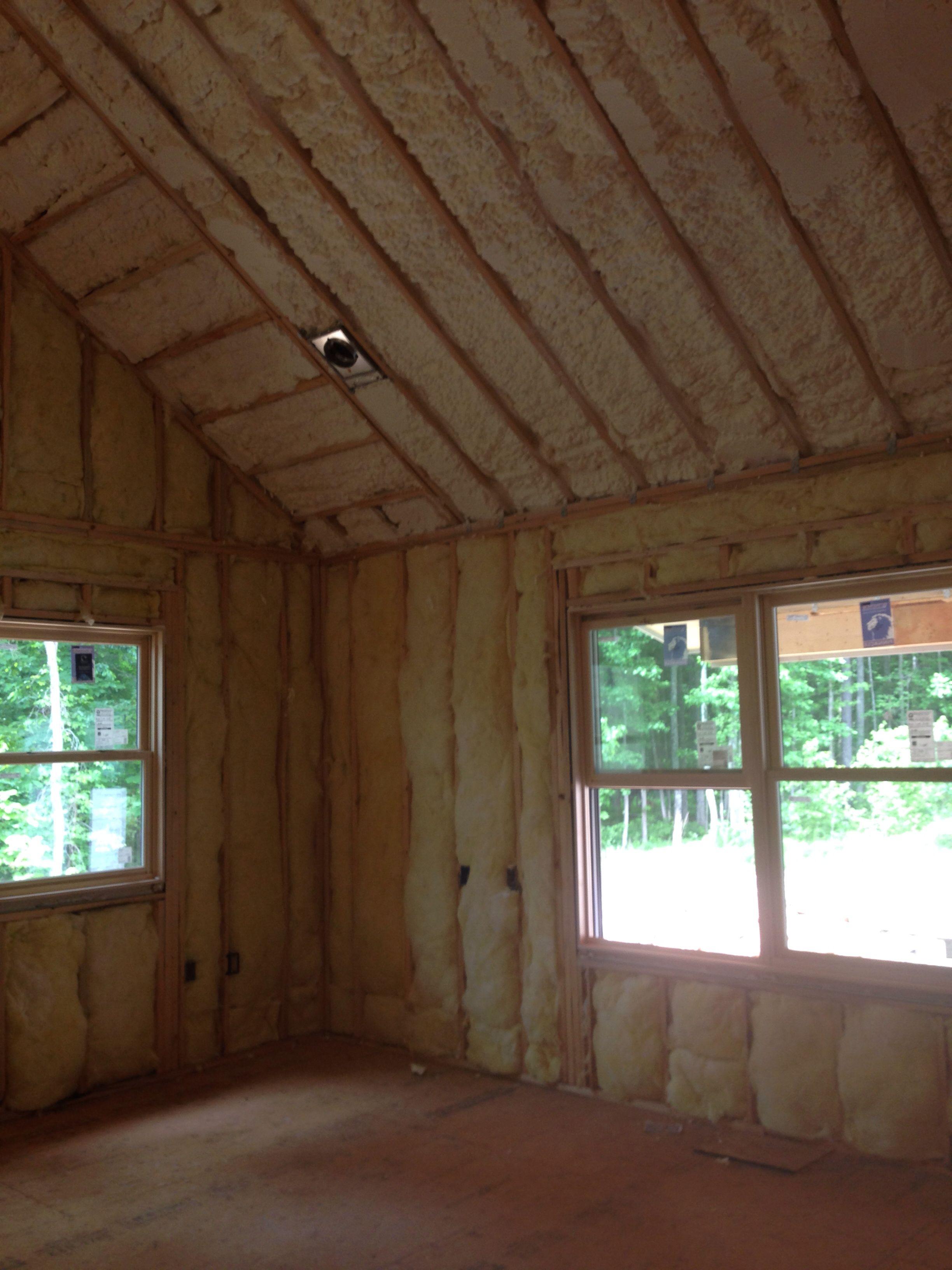 Hybrid Solution Fiberglass On The Exterior Walls And Spray Foam