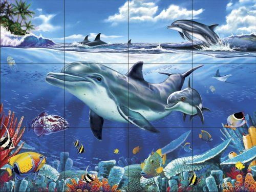 Dolphin Reef Iii Kitchen Backsplash Bathroom Wall Tile Mural Ceramic Tiles Amazon Com Backsplash Stainless Backsplash Countertop Backsplash