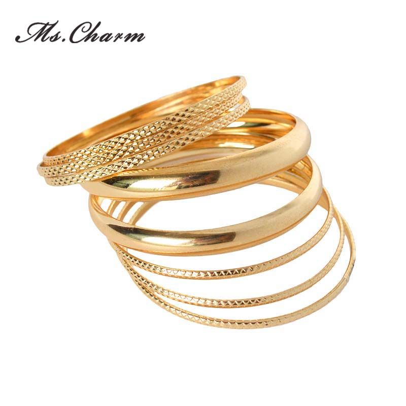 Hot Sale Luxury Ladies Brand Gold Plated Filled Multilayer Charm Bracelets  Bangles Set For Women 2015 dd2376f9391b