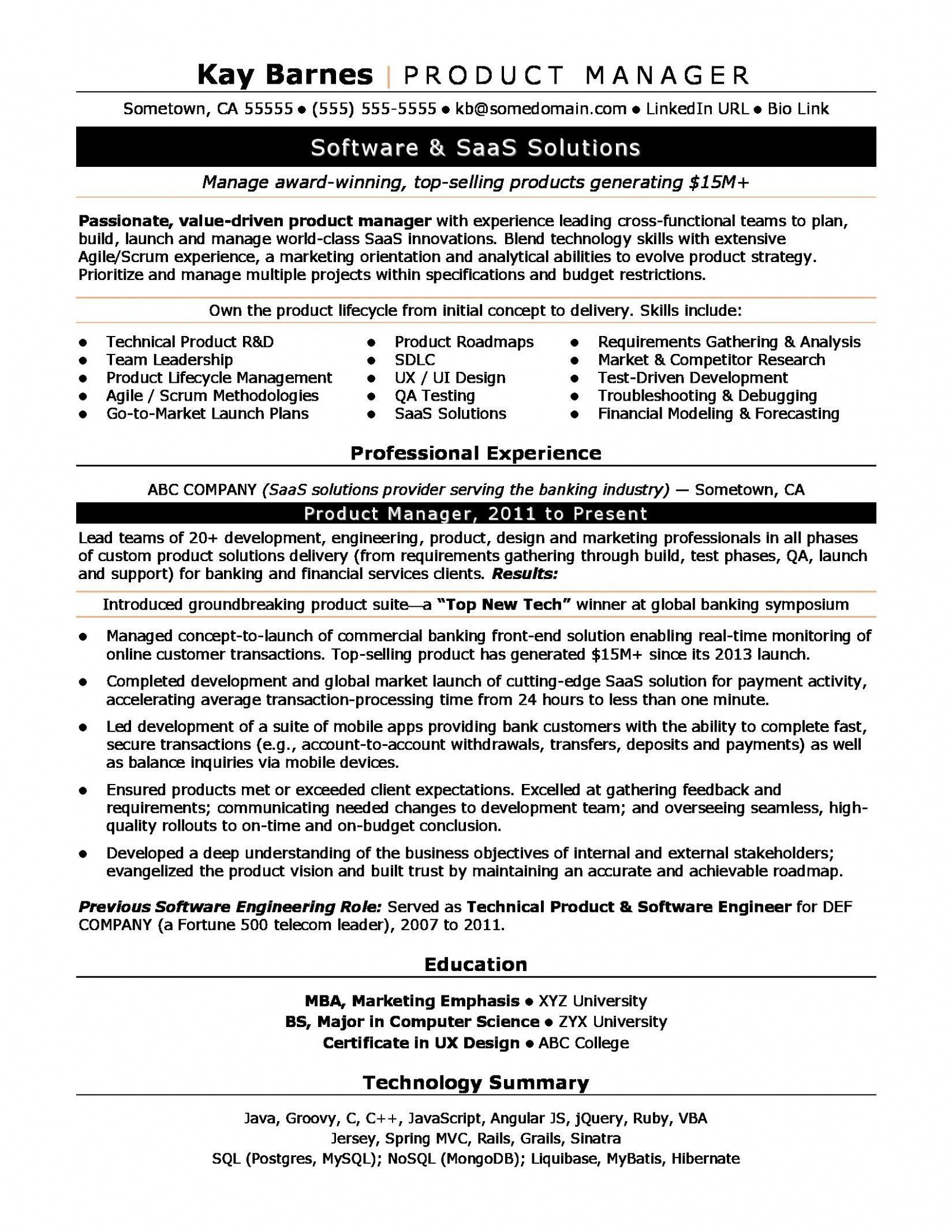 product manager resume template download