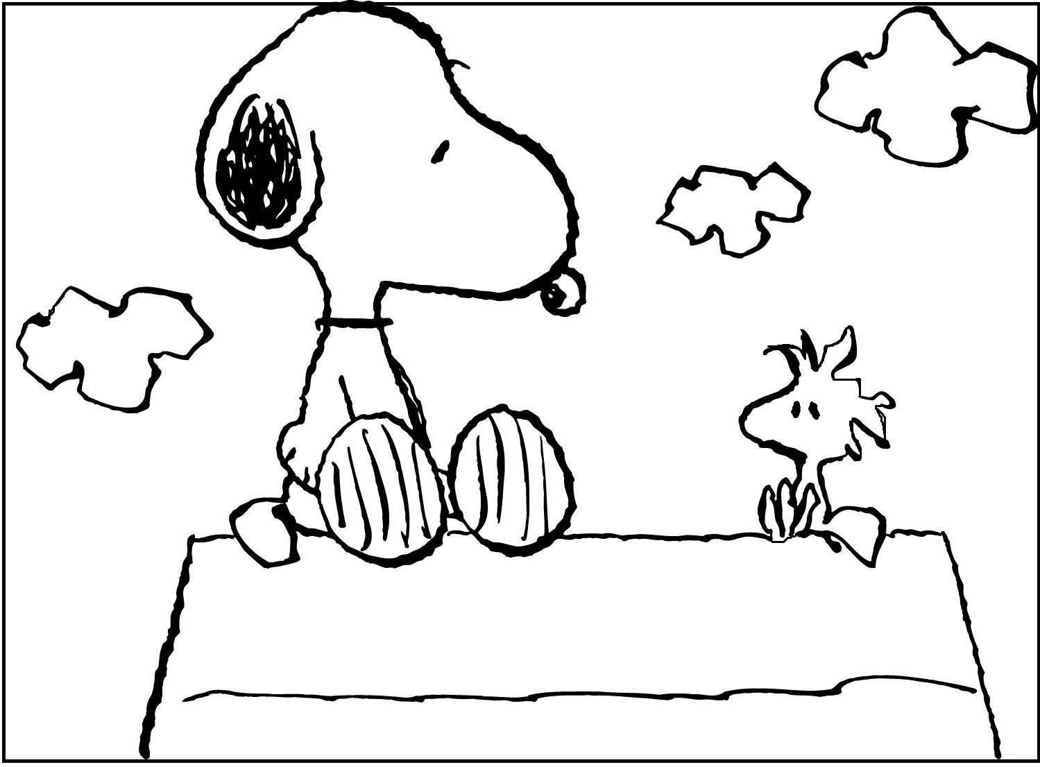 Snoopy Sitting With Woodstock Coloring Pages For Kids Fys Printable Snoopy Coloring Pages For Kids Hoja Cuadriculada Cuadricula Hojas