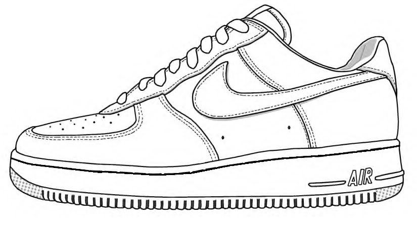 nike air force sneakers pictures for coloring