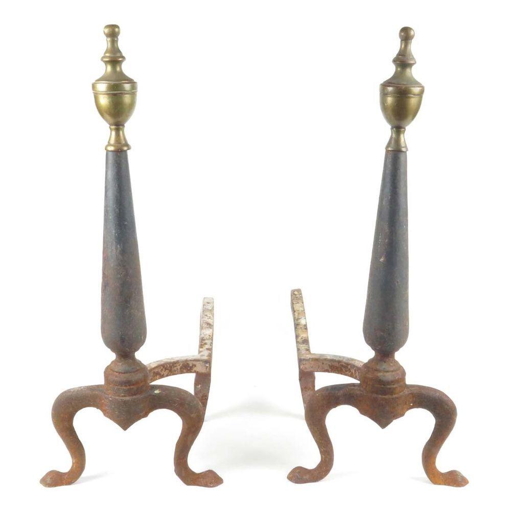 Antique Fireplace Andirons Cast Iron Brass Finials Queen Anne Pad Feet Hearth Andirons Fireplace Antiques Fireplacedecor Homede Decor Home Decor Fireplace