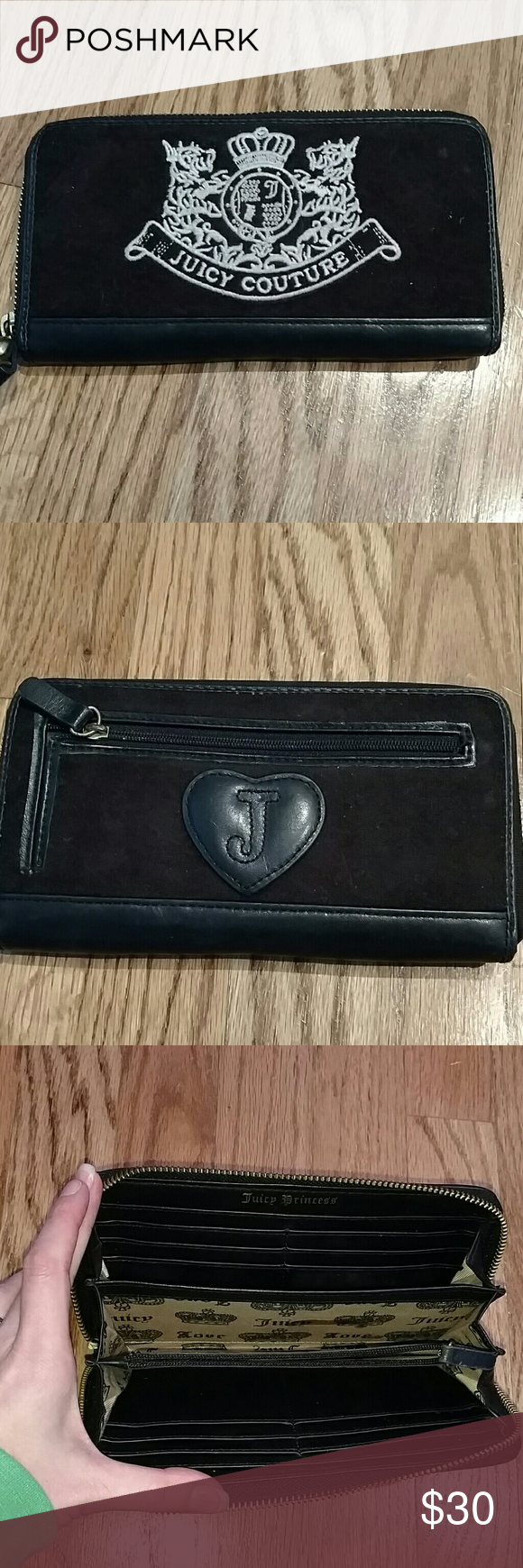 Brown suede Jucy wallet Back zipper pouch, inside zipper pouch 12 credit card slots. Great condition Juicy Couture Bags Wallets