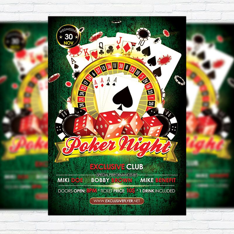 Poker Night - Premium Flyer Template + Facebook Cover http - benefit flyer templates