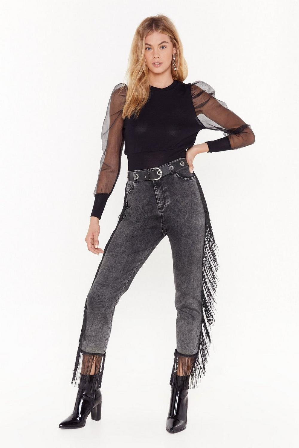 It's Only Rock and Roll Fringe High-Waisted Jeans | Shop Clothes at Nasty Gal #rockandrolloutfits