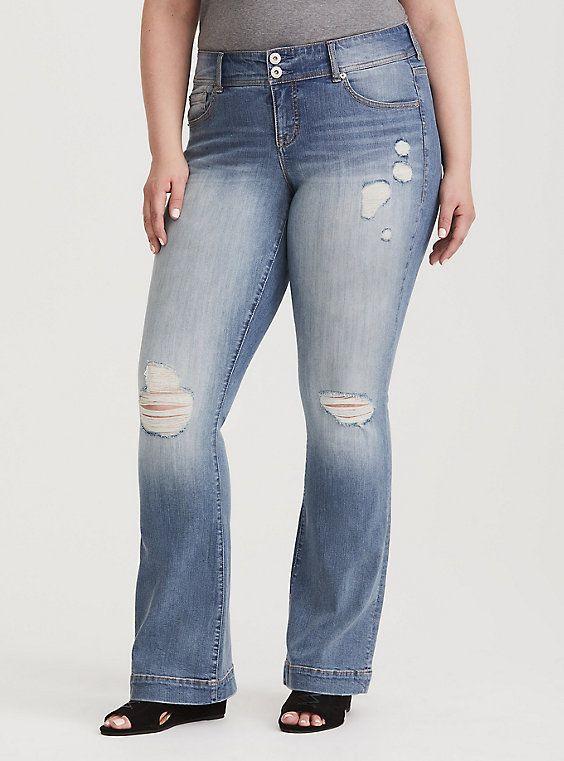 c5a5ae5e11a3d Premium Stretch Flared Jean - Distressed Light Wash
