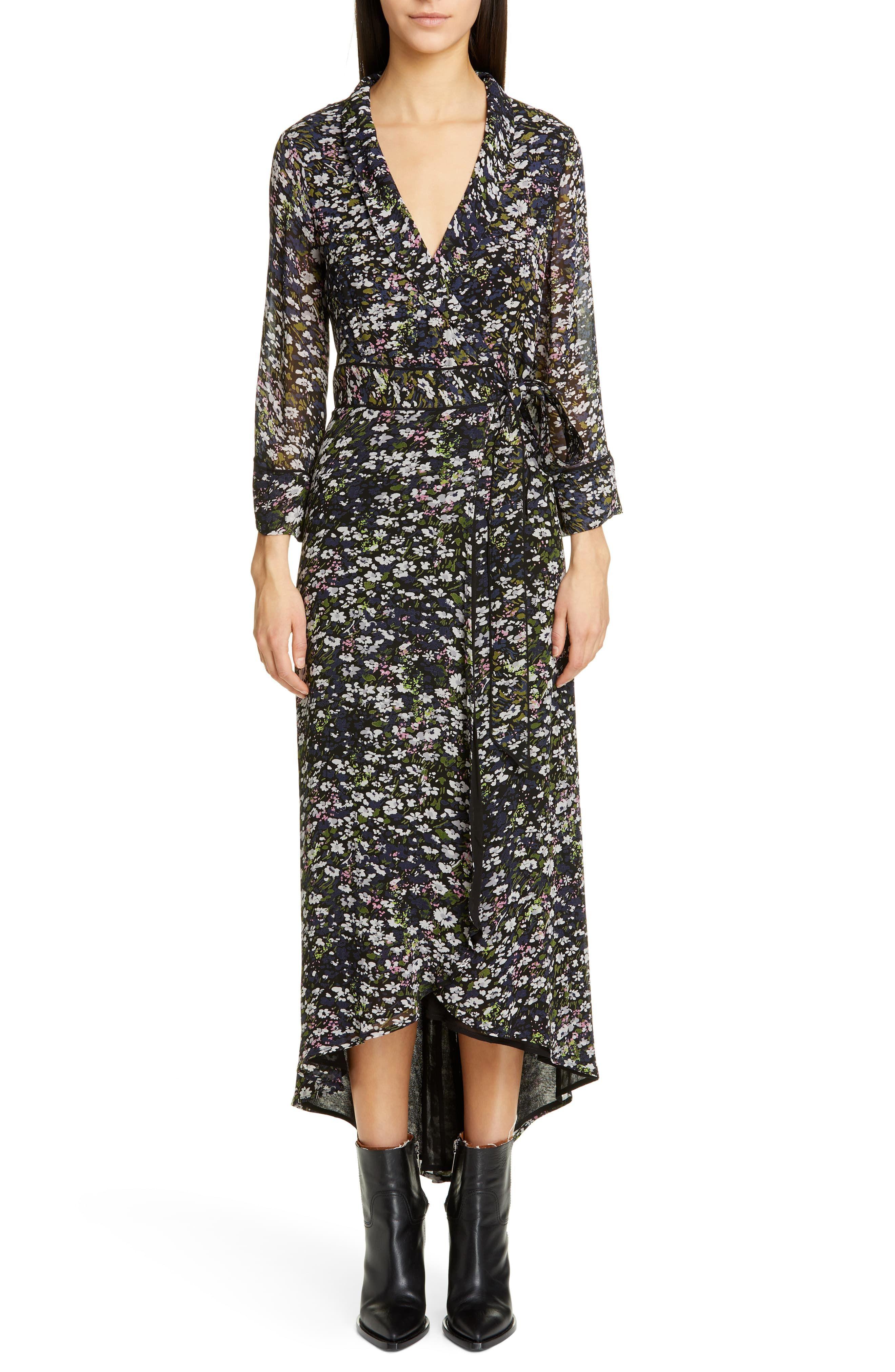 e625f19b5682bf Women's Ganni Floral Print Georgette Midi Wrap Dress, Size 10 US / 42 EU -