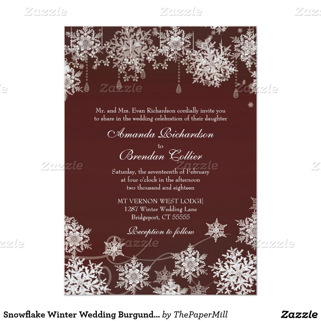 Snowflake Winter Wedding Burgundy Red and White Card | Snowflakes ...