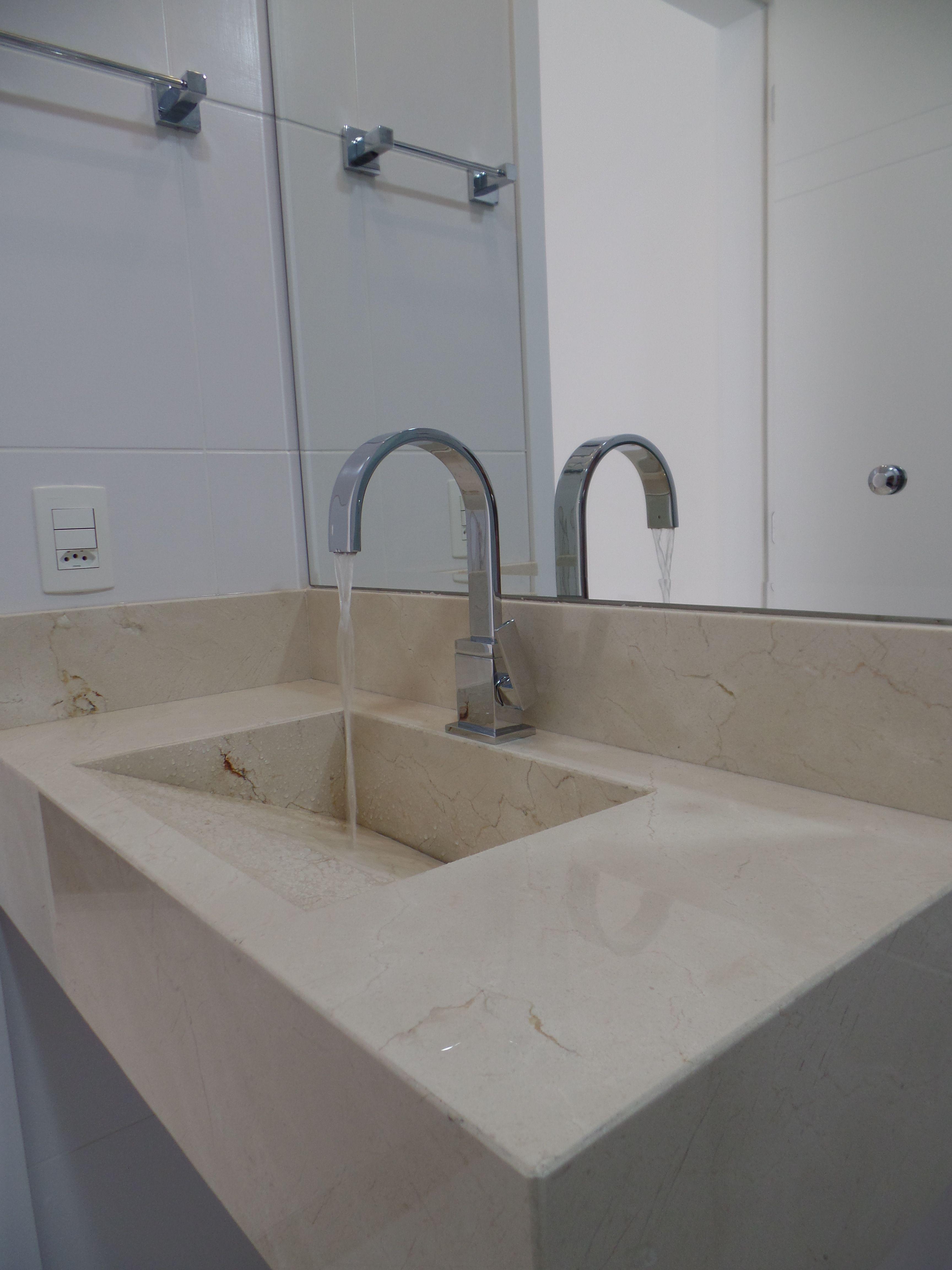 Bancada E Cuba De Banheiro Em Marmore Crema Marfil Porcelanato