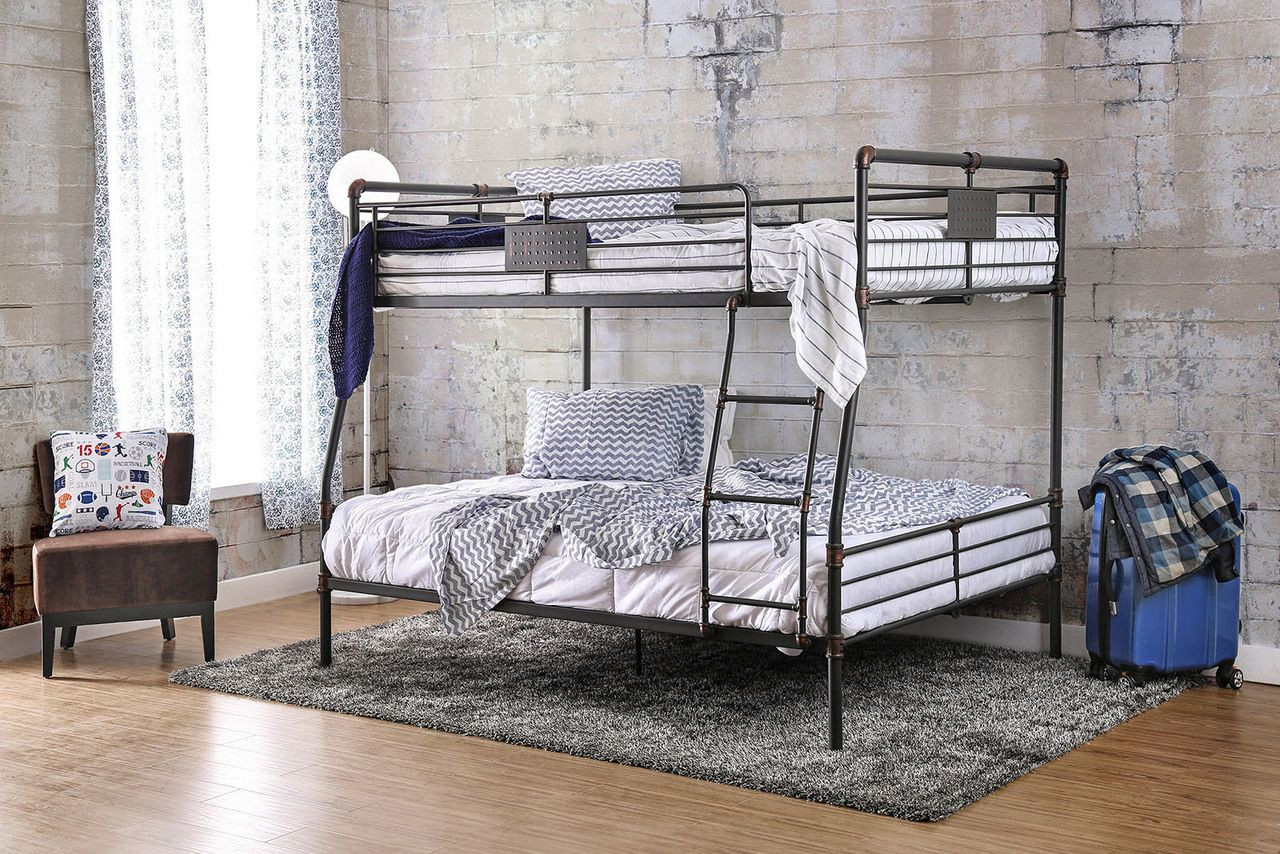 Industrial Piping Extra Long Full Over Queen Metal Bunk Bed