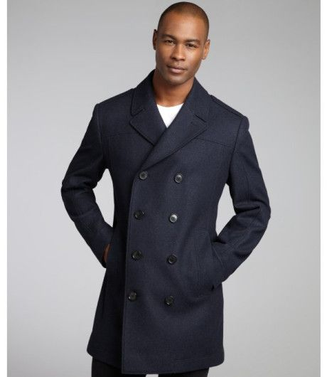 Hugo Boss Blue Navy Virgin Wool Blend Double Breasted Coat Mens Cashmere Hugo Boss Mens Coats