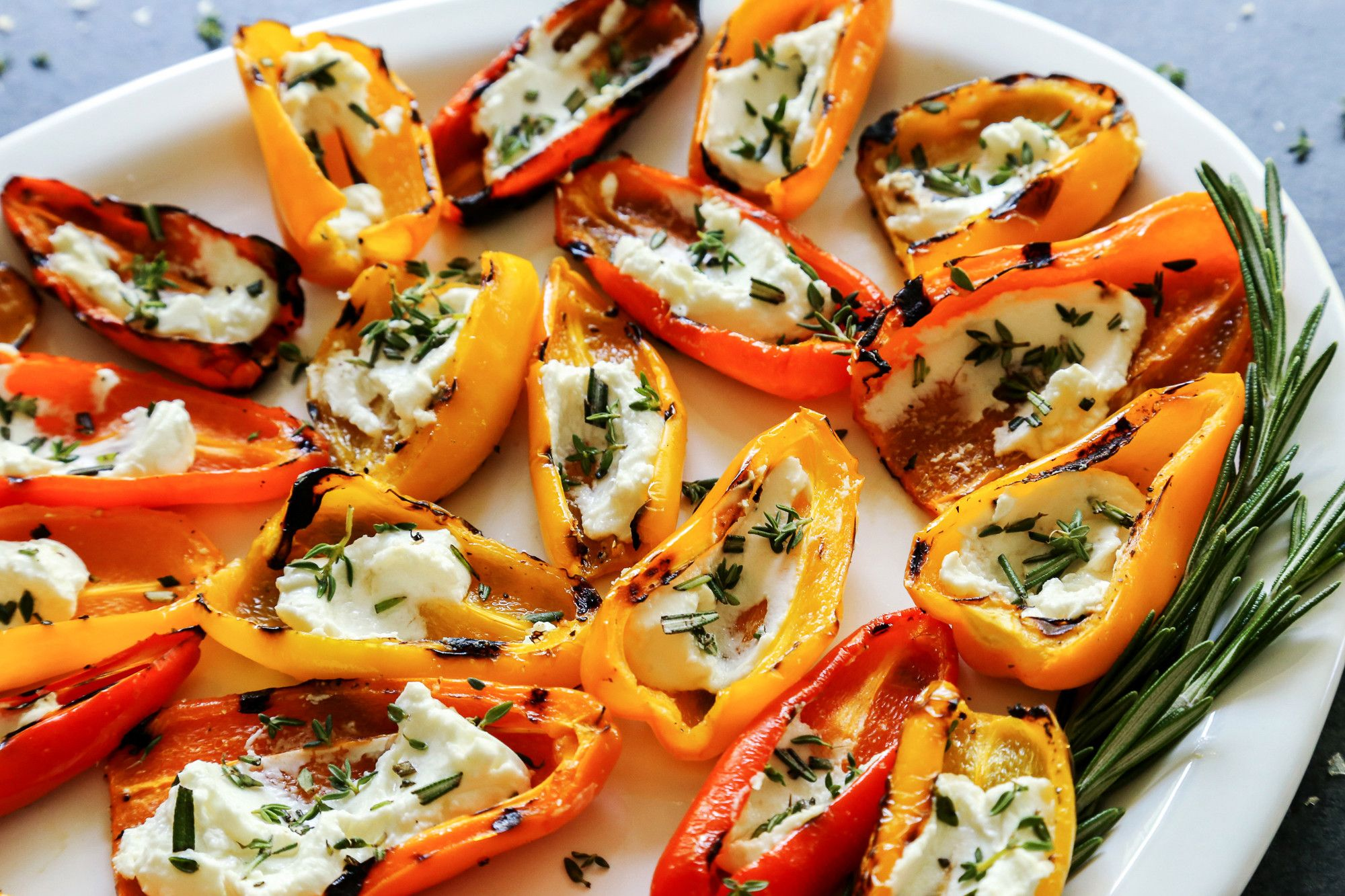 grilled mini sweet peppers with goat cheese  recipe