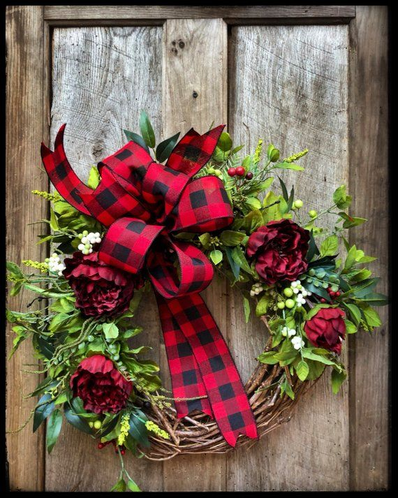 Photo of Farmhouse Wreath, Christmas Decor, Holiday Wreaths, Buffalo Plaid, Red and Black Check, Gifts, For Her, Rustic, Grapevine,  Winter Door