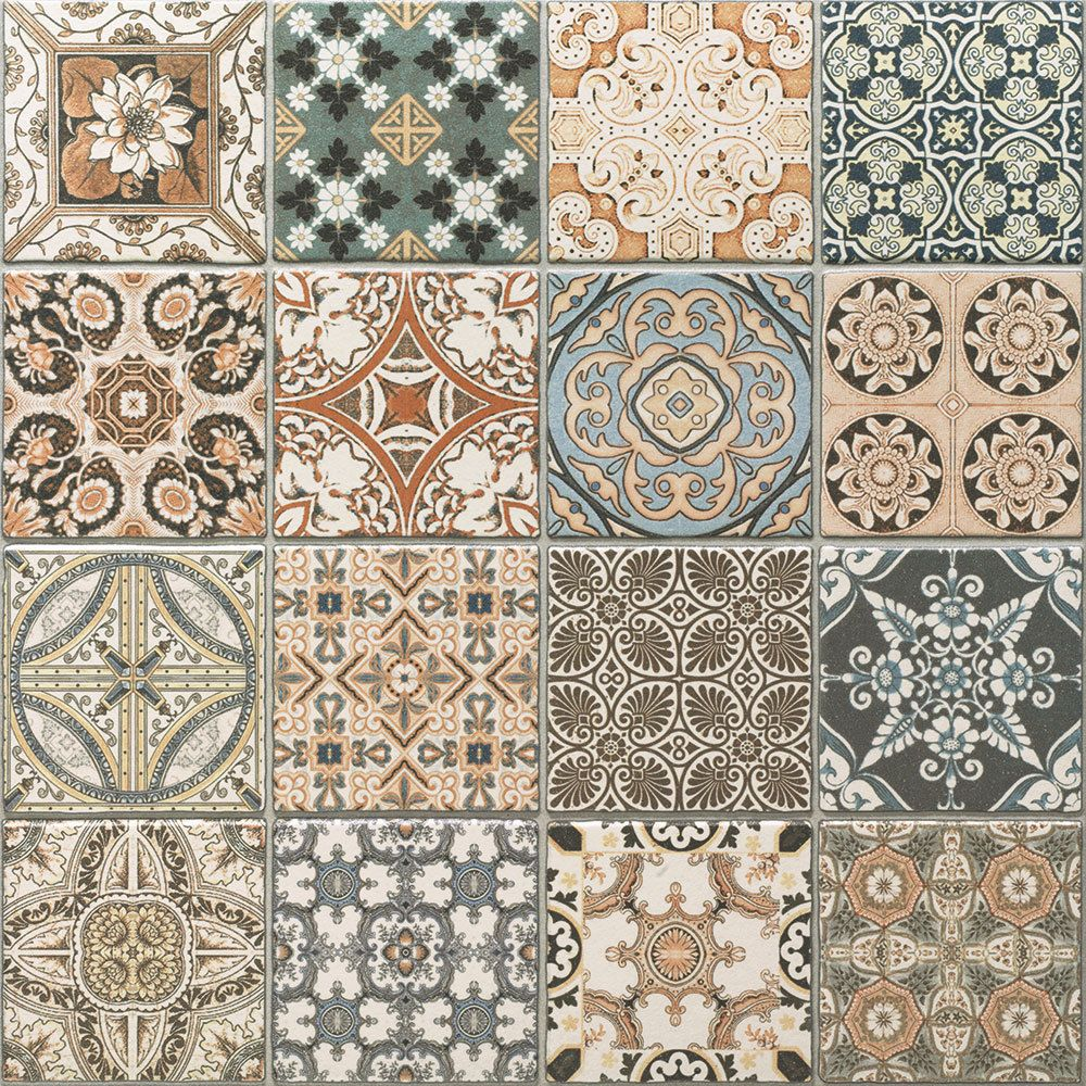 Maalem Decor Matt Patchwork Moroccan Pattern Porcelain