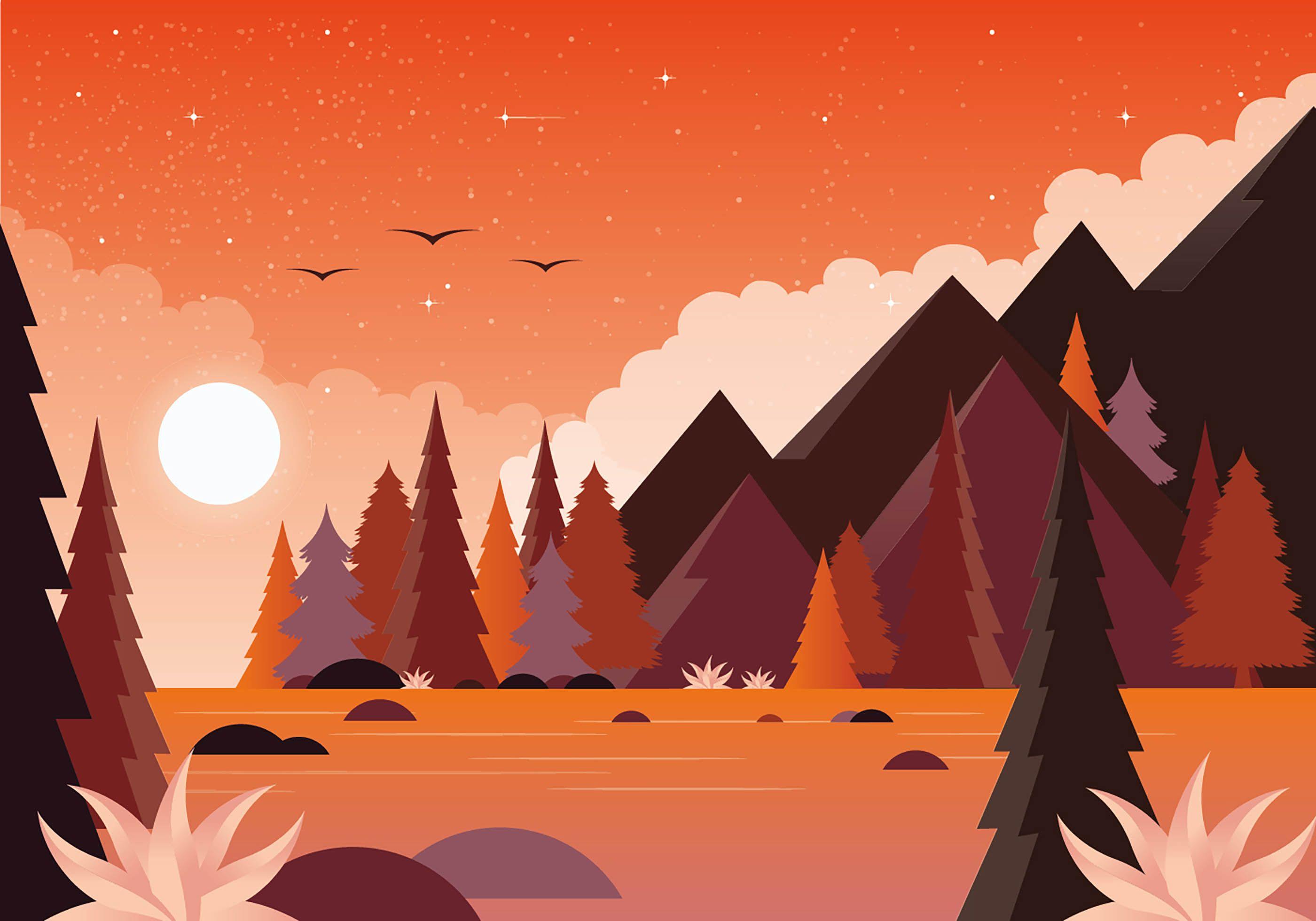 Vector Nature Landscape Illustration Landscape Illustration Game Background Art Nature Illustration