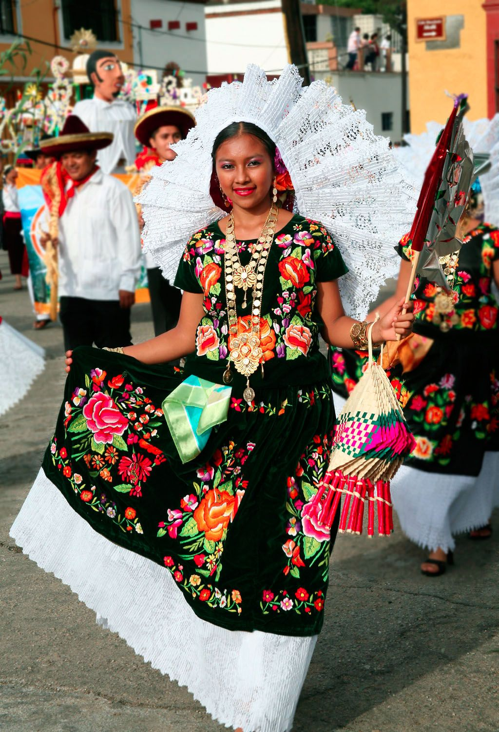 young woman wearing the traditional festive dress of