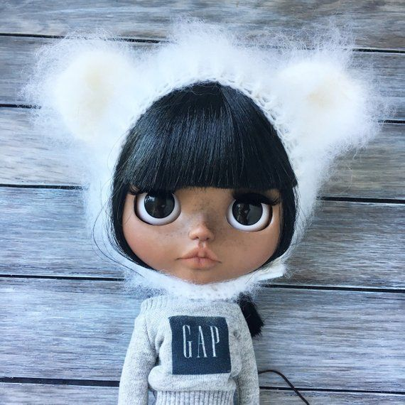 Blythe doll hat teddy bear ears white color knitted clothes outfit mohair #dollhats