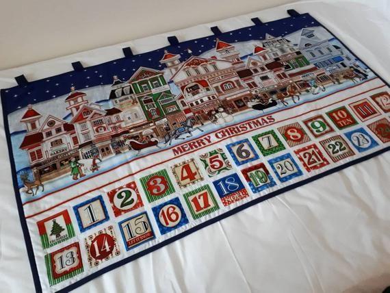 Large Handmade Reusable Fabric Advent Calendar #numerocalendrieraventaimprimer