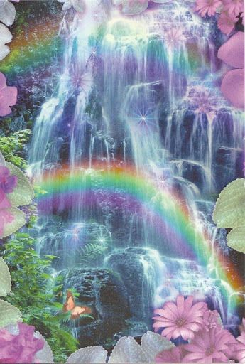 Pretty Waterfall With Flowers And Double Rainbows Rainbow Rainbow Waterfall Beautiful Nature Beautiful Waterfalls