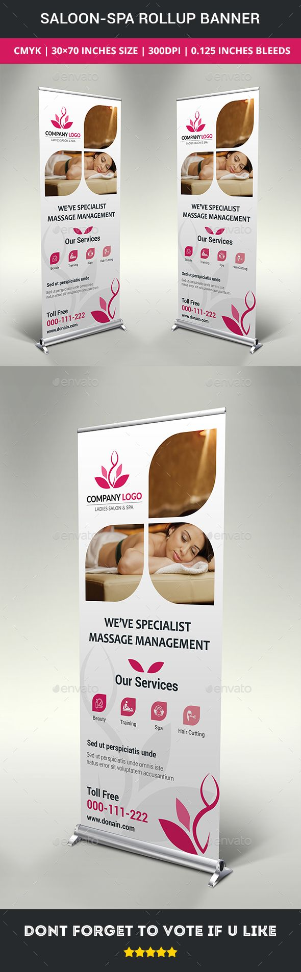 Saloon-Spa Rollup Banner  This is simple, eye catching & corporate rollup banner...