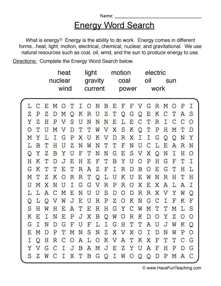 Energy Wordsearch Worksheet Work Energy And Power Teaching Energy Worksheet Template