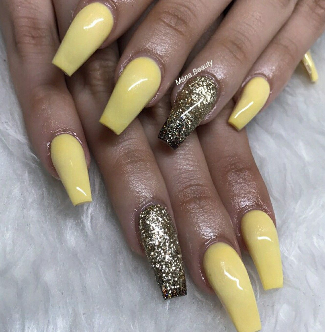 Ballerina Nails Yellow Gold Gel Acrylic