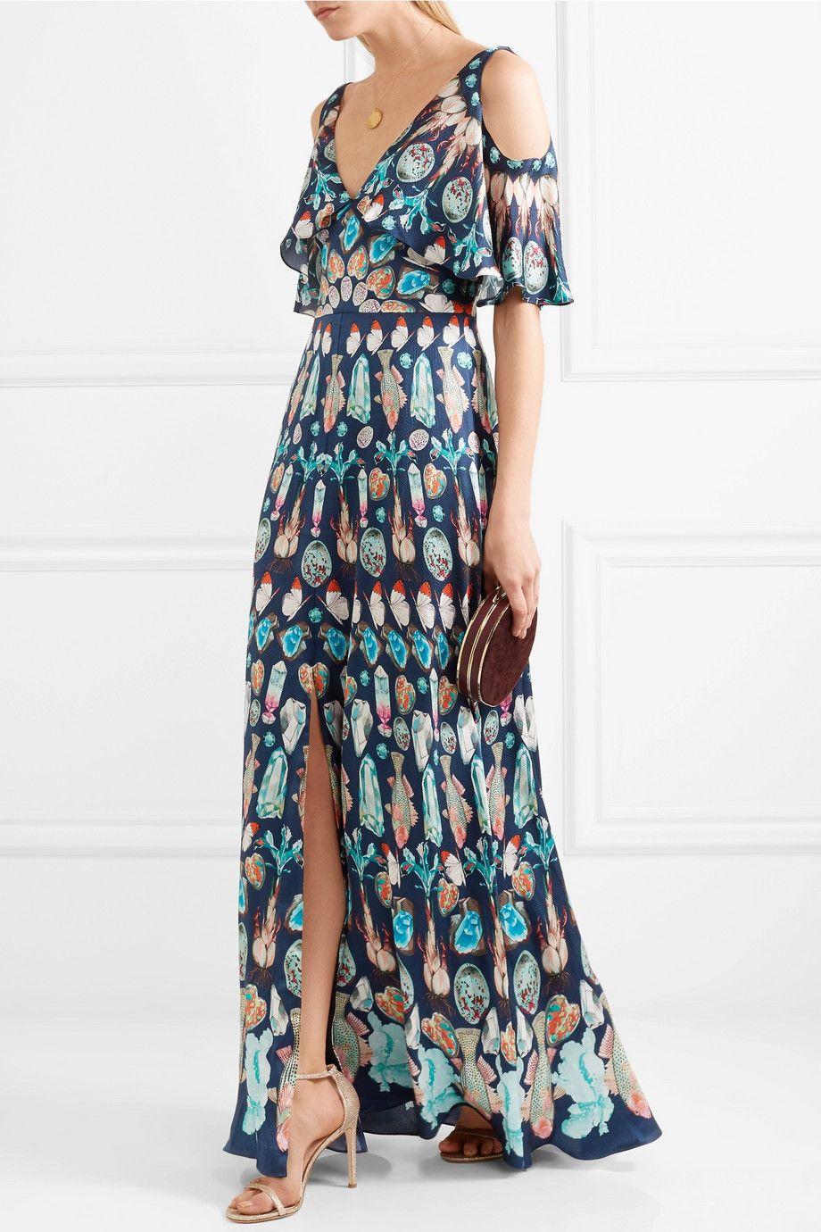 Quartz Cold-shoulder Printed Silk Crepe De Chine Gown - Blue Temperley London in24Y7aM