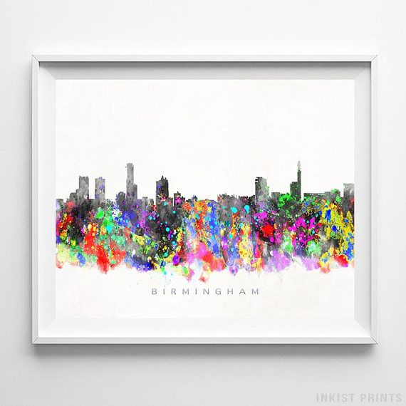 Birmingham England Watercolor Skyline Wall Art Poster - Prices from $9.95 - Click Photo for & Birmingham England Watercolor Skyline Wall Art Poster - Prices from ...