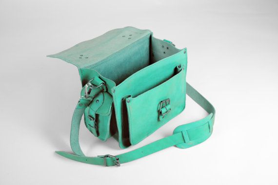 Handmade Leather Camera Bag Turquoise by MagusLeather on Etsy