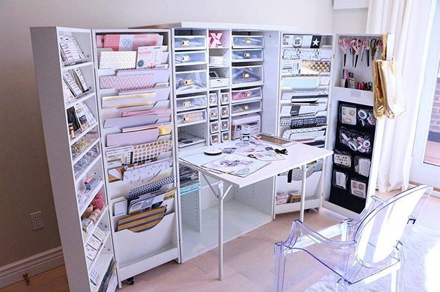 Pin For Later This Scrapbook Cabinet Is A Genius Storage Solution For Beauty Hoarders Craft Cupboard Craft Room Craft Room Decor