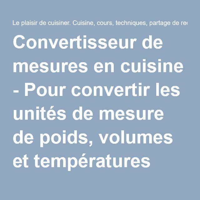 Convertisseur De Mesures En Cuisine Pour Convertir Les Unités De - Convertisseur cuisine