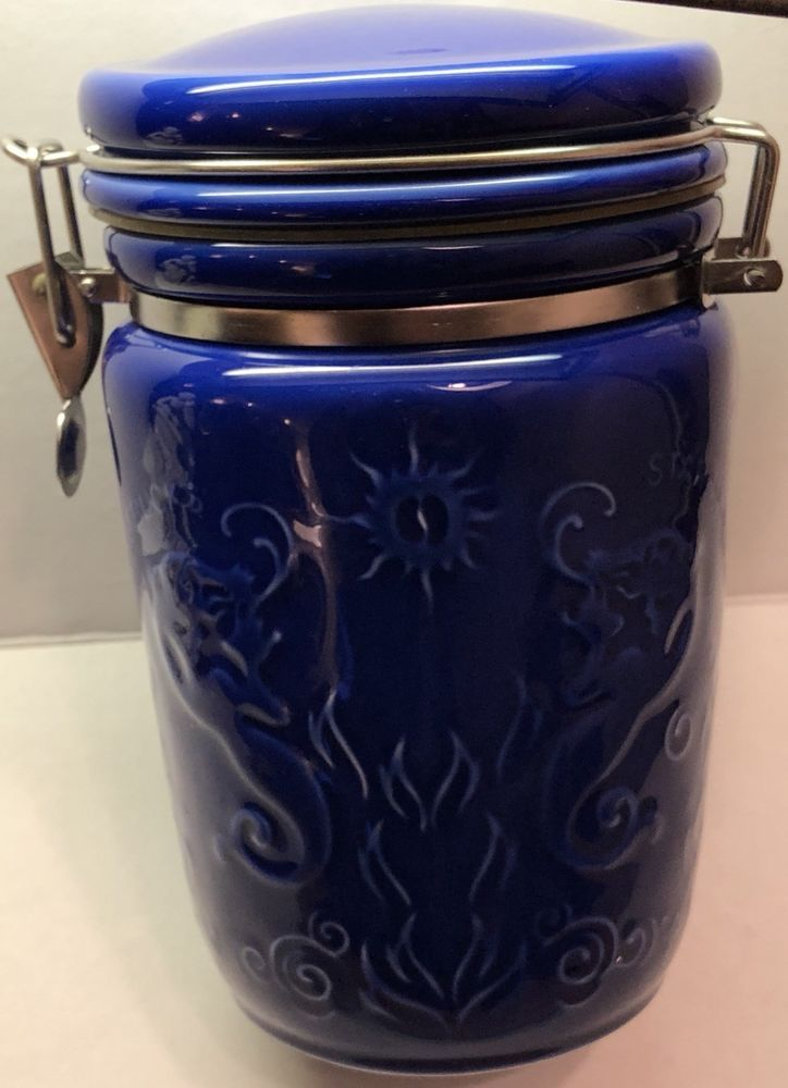 Vintage Starbucks Mermaid Blue Canister Coffee Container Rare Discontinued