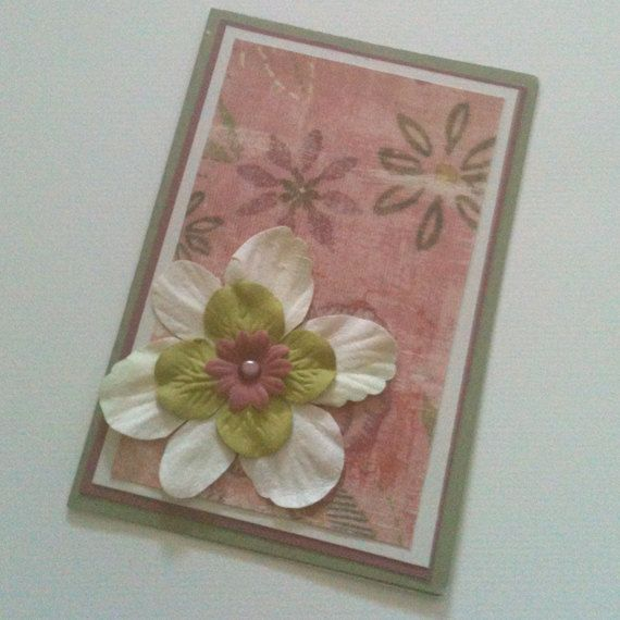 Any Occasion Card Pink and Green Floral by MayQueenCrafts on Etsy, $3.00