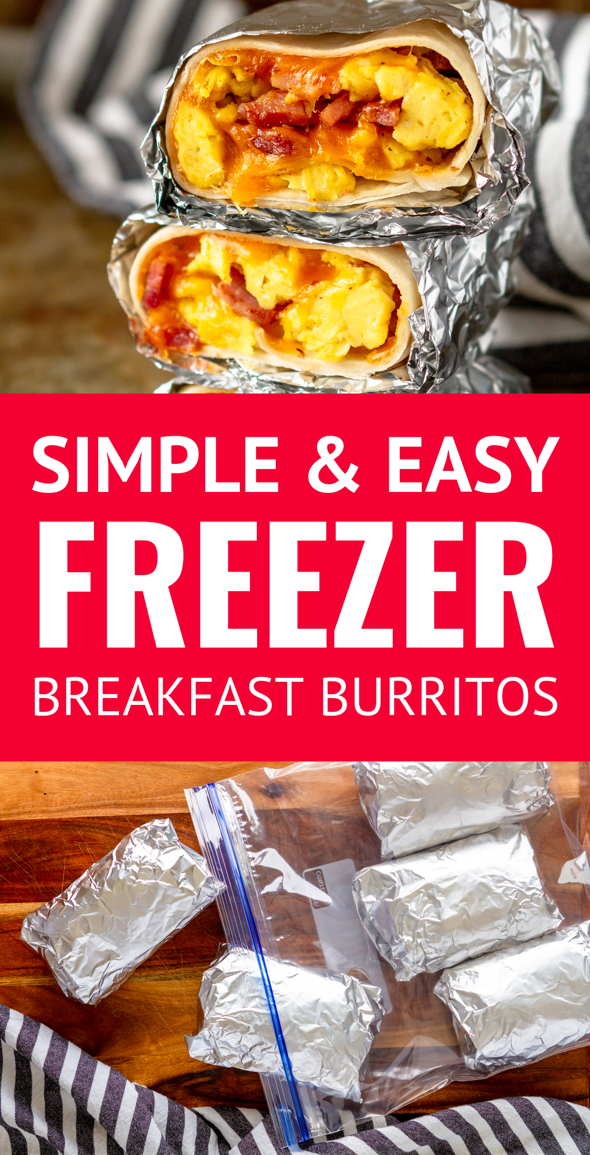 Simple and Easy Ham Egg & Cheese Freezer Breakfast Burritos images