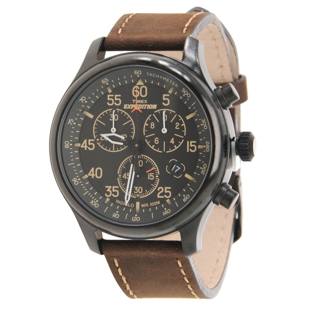 Men's Field Watch Expedition Rugged Chronograph Brown Leather Strap100-M Indiglo #Watch #Casual