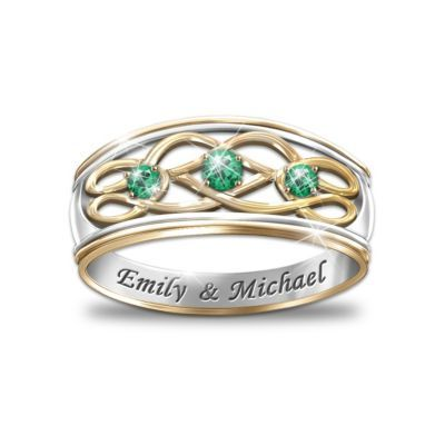 unity of love personalized emerald celtic knot ring. Black Bedroom Furniture Sets. Home Design Ideas