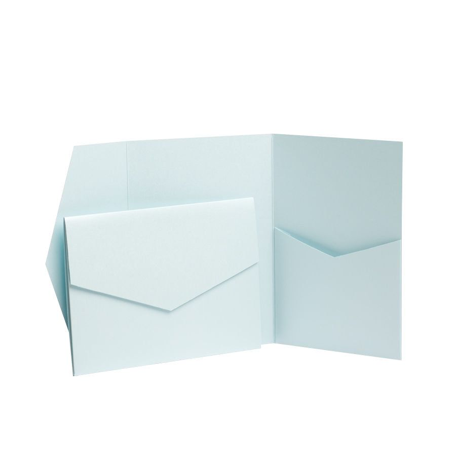 Pearl Pearlescent Pocketfold Invites with envelopes DIY Wedding Cards