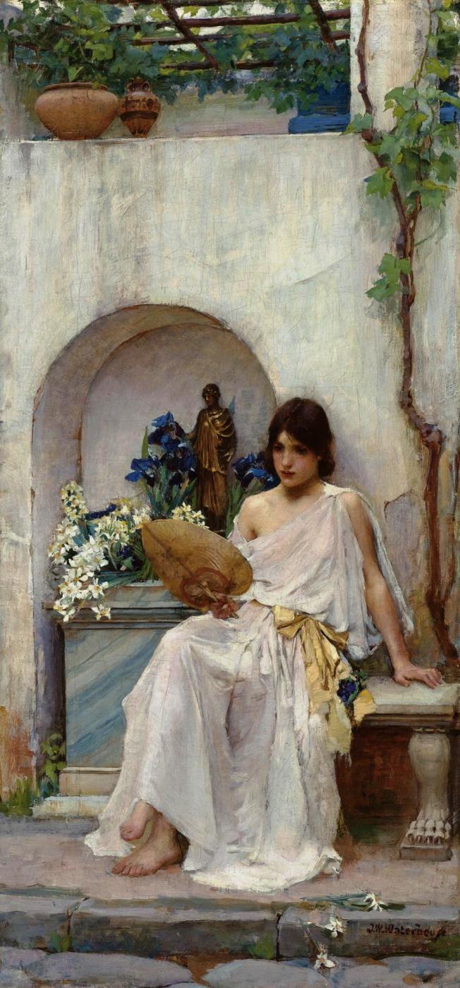 John William Waterhouse (British, 1849-1917). Flora [white dress], 1890