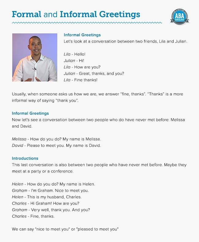 Formal and informal greetings | English Expressions/Phrases
