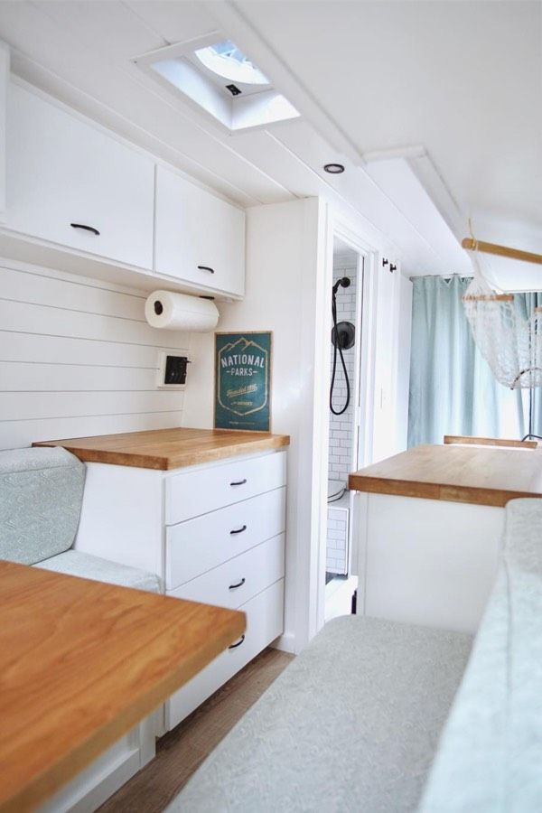 How awesome is this all white van interior check out the list of also creative campervan designs for your next build rh pinterest