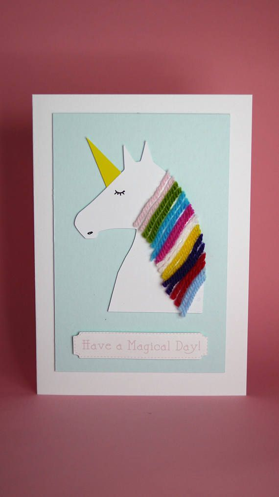 Unicorn Handmade Birthday Card Girls 1st Cute Magical Wool Cardrainbow