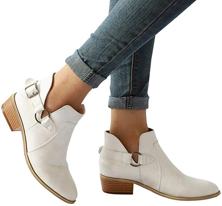 b1590e044598 Amazon.com  Gyoume Ankle Boots Women Boots Pointed Toe Martin Boots Classic Ankle  Boots Casual Flat Wedge Shoes  Clothing