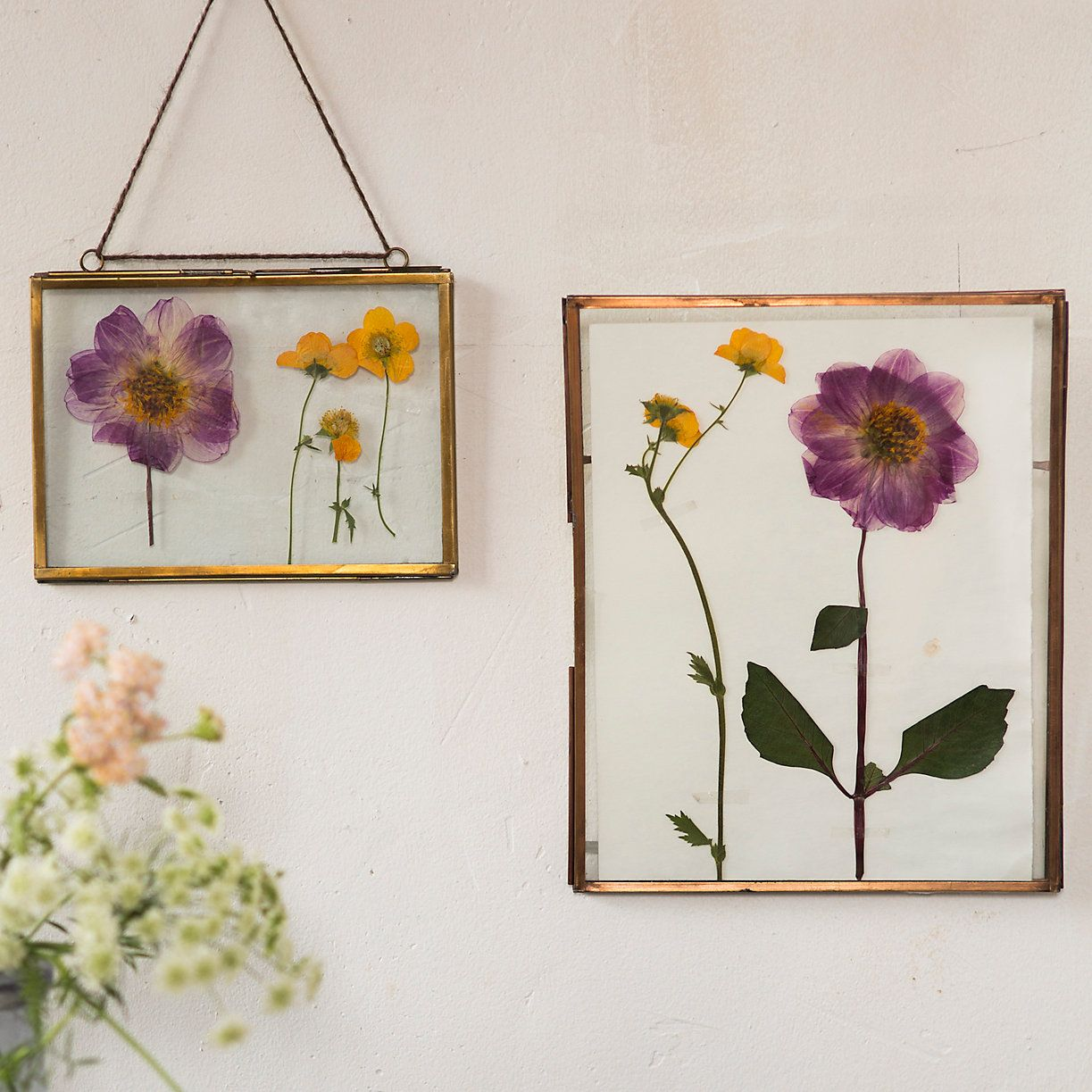 A Bronzed Finish Lends Polished Appeal To Dried Botanicals Inside These Hanging Frames With Double Glass Panes And Hinged Construction For Easy Stylin