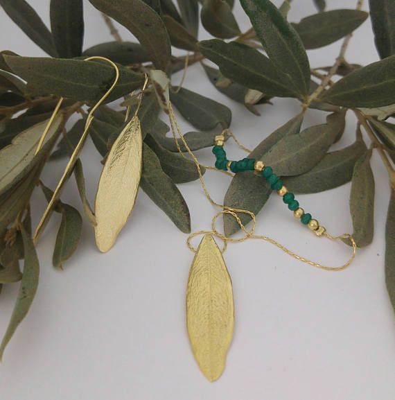 fed512867 This gold necklace olive leaf pendant and earrings are an exact replica of  an ancient olive tree leaf. Made of 18k ...