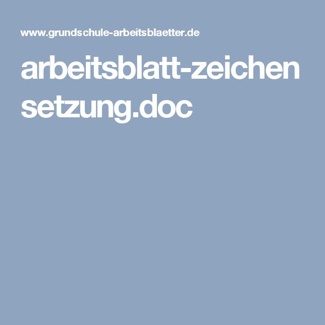 arbeitsblatt-zeichensetzung.doc | SCHULE | Pinterest | Schule