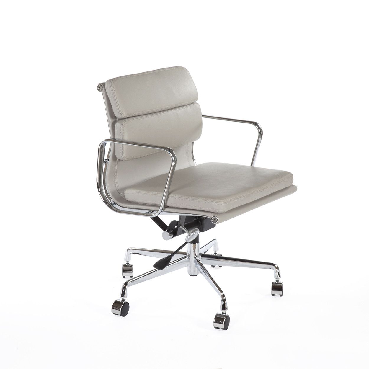 modern grey leather office chair step stool mid century polstret low back padded aluminum