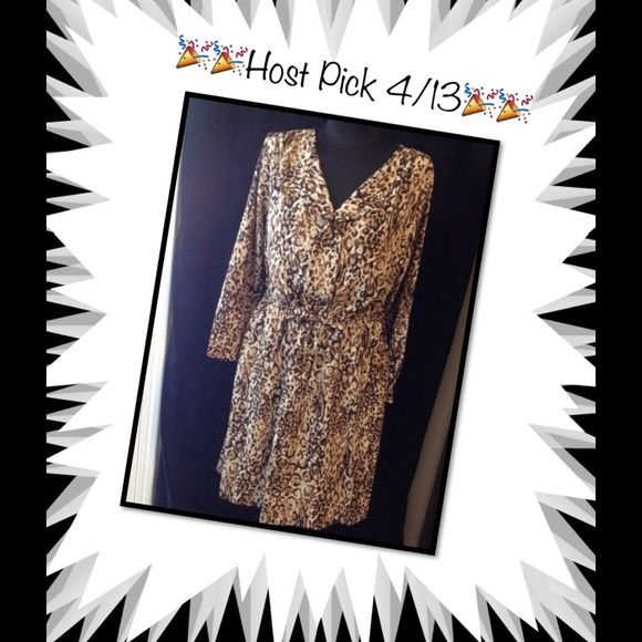 Host Pick 4/13  Leopard print shirt dress. Brand new without tags, brown tone leopard print shirt dress. Elastic waist with string tie. Super cute. Size L.  Perfect for fall! Merona Dresses