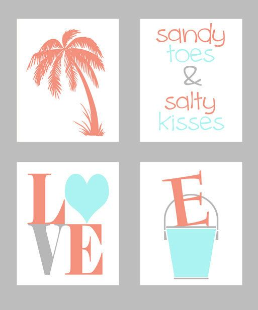 Beach Nursery Art Print Set - Aqua Coral - Palm Tree Beach Bucket Personalize Sandy Toes Salty Kisses  -  Wall Art Home Decor Set 4 8x10