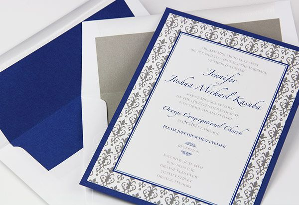 Royal Blue And Gray Layered Wedding Invitations With Matching Lined Envelopes Gmund Colors